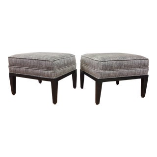 1970's Custom Upholstered Ottomans - A Pair