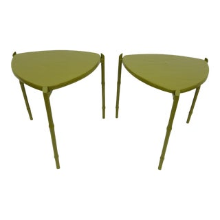 Vintage Green Painted Triangular Stacking Side Tables - A Pair