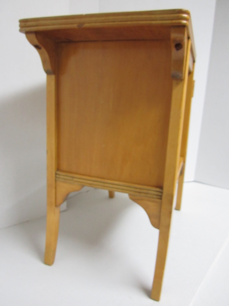 Vintage Mid Century Blonde Wood Telephone U0026 End Table   Image 4 Of 11