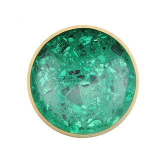 Brass Rimmed Malachite Bowl