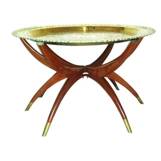Round Chinese Brass Tray Table, MCM Teak Legs