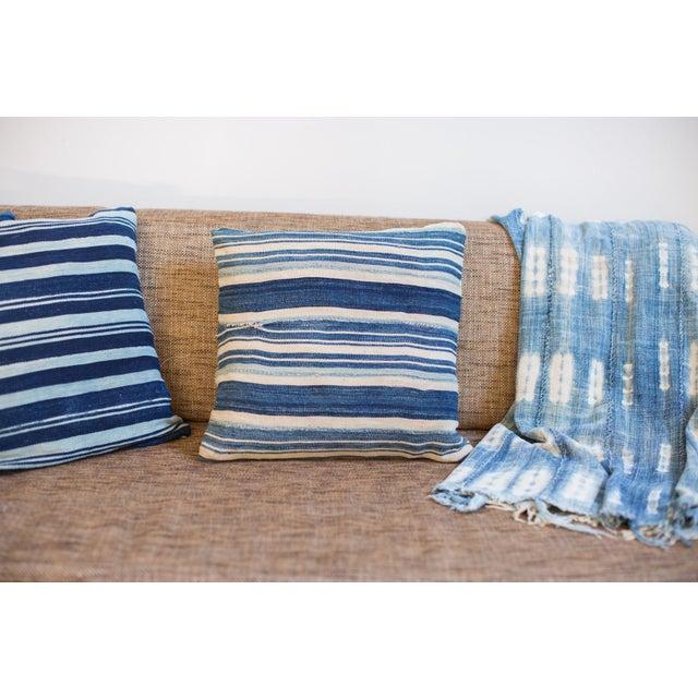 Striped Indigo Throw Pillow - Image 3 of 6