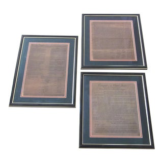 Framed Historical US Document Replicas - Set of 3