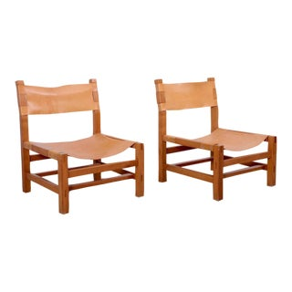 Pair of Signed Maison Regain Lounge Chairs in Original Condition, France, 1970s