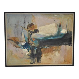 1962 Mid Century Modern Abstract Oil Painting by Warren Brandon