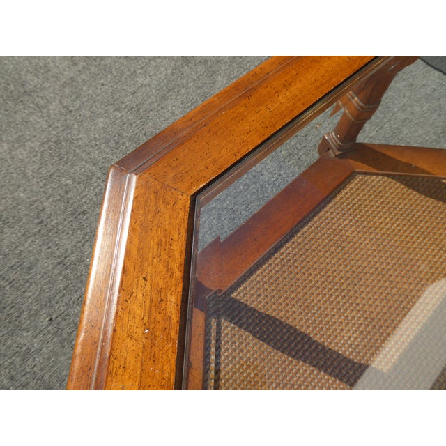 Mid Century Octagon Beveled Glass Top Coffee Table - Image 8 of 9