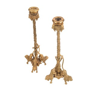 19th Century Gilt Bronze Lions Candlesticks - Pair
