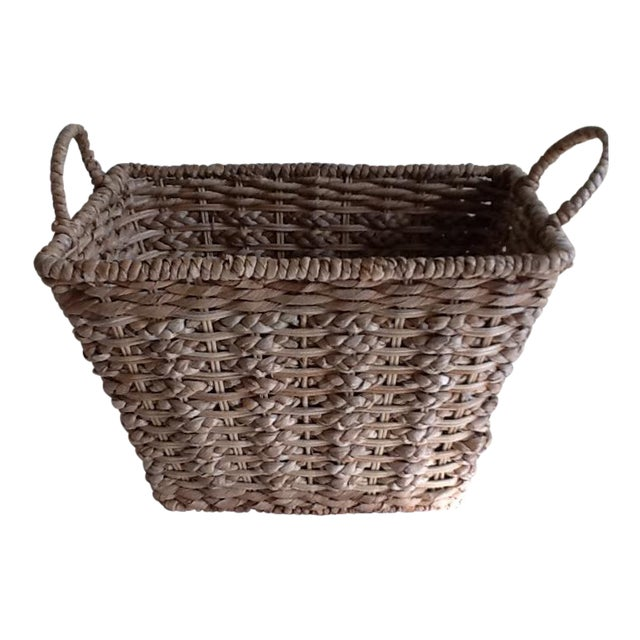 How To Weave A Basket With Rope : French woven rope basket chairish