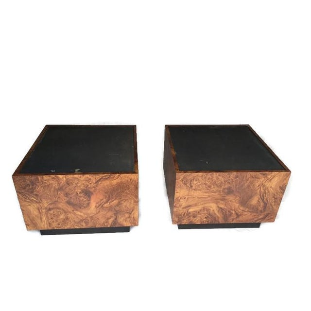 Vintage Burl Wood Cube Tables - A Pair - Image 3 of 10