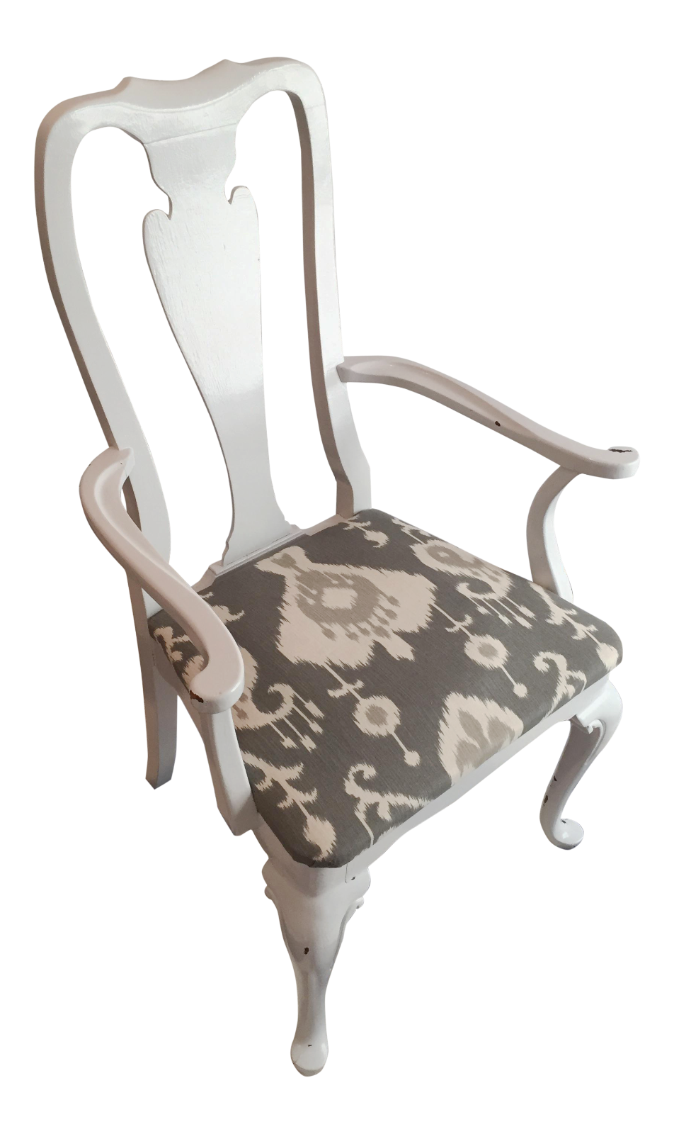Queen Anne Style White Lacquer U0026 Gray Ikat Armchair