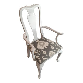 Queen Anne Style White Lacquer & Gray Ikat Armchair