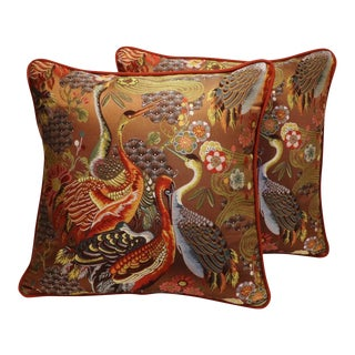 """22"""" Embroidered Chinoiserie Crane Feather/Down Pillows - Pair"""