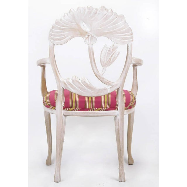Four Lime Wash Floral Carved Dining Chairs In the Manner Of Phyllis Morris - Image 5 of 9