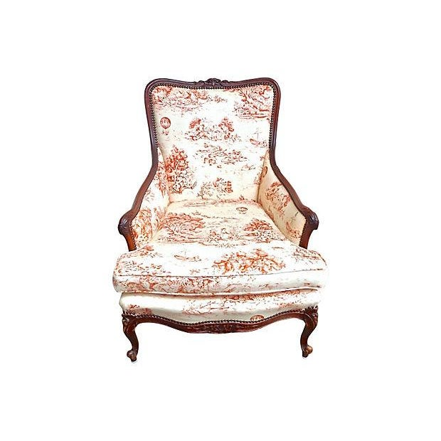 Antique French Toile Fauteuil And Ottoman - Image 6 of 10