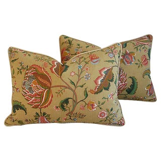 Designer Brunschwig & Fils Floral Feather/Down Pillows - Pair