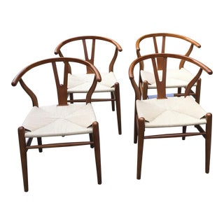 EdgeMOD Wishbone Weave Arm Chairs in Walnut - Set of 4