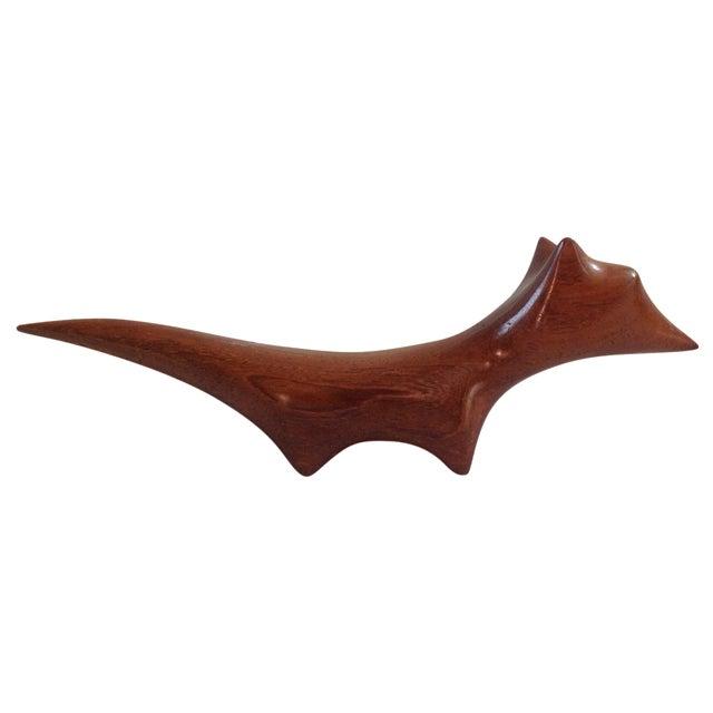 Danish Modern Wood Carved Fox - Image 1 of 5