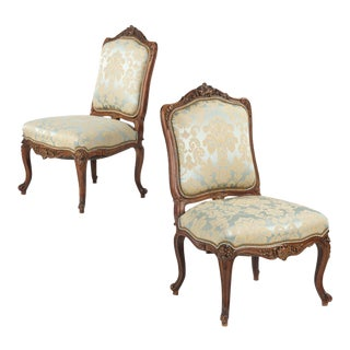 Antique Rococo Revival Walnut Side Chairs - A Pair