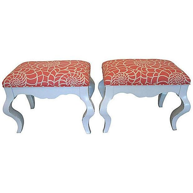 Vintage Coral & White Nautilus Benches - A Pair - Image 2 of 6
