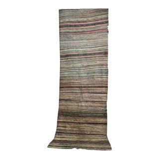 Antique Hand Woven Turkish Kilim Runner Rug - 3′3″ × 9′6″