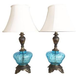 Hollywood Regency Vintage Blue Glass Lamps - Pair