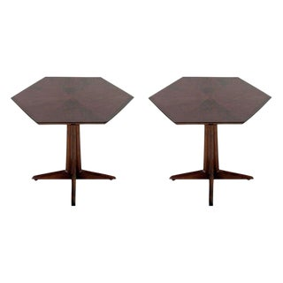 Drexel Hexagonal Pedestal Occasional Tables - a Pair