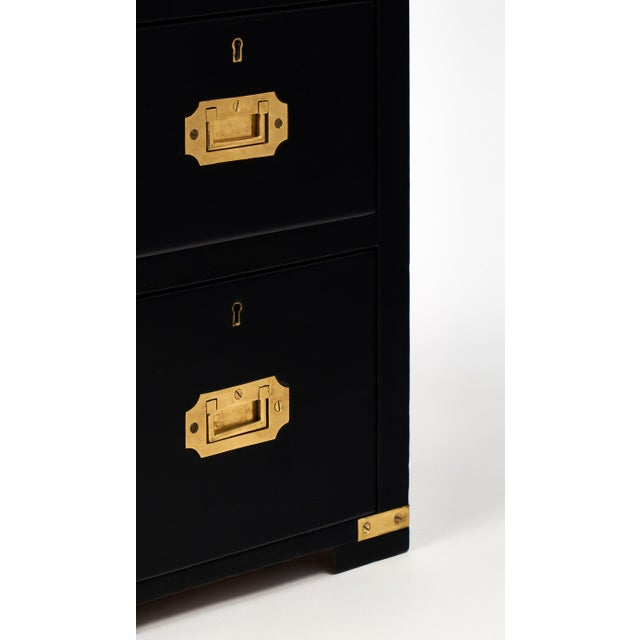 English Campaign Style Ebonized Mahogany Side Tables- A Pair - Image 10 of 10
