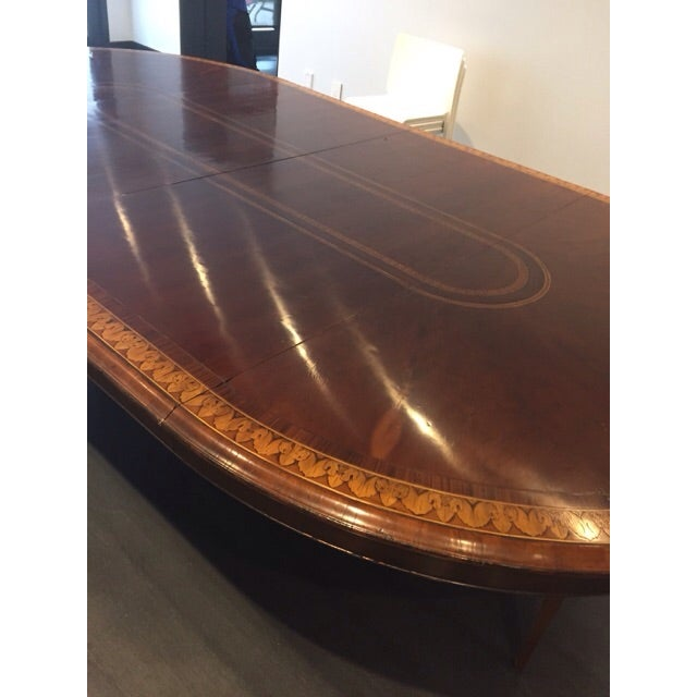 Round to Oval Inlaid Oak Extension Dining Table - Image 9 of 11