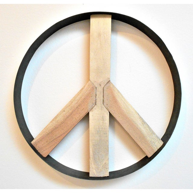Iron And Wood Peace Sign Wall Art Chairish