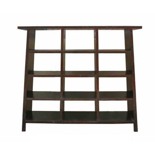 Rustic Black Lacquer Ladder Shape Display Cabinet