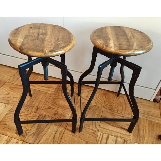 Industrial/Rustic Adjustable Height Swivel Bar Stools - a Pair - Image 3 of 4