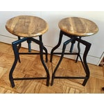 Image of Machinist Adjustable Height Swivel Bar Stools - A Pair