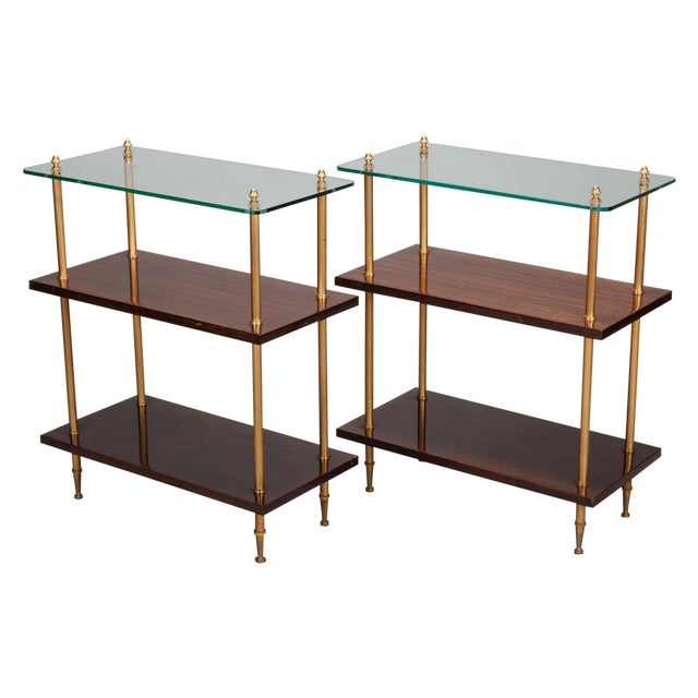 Glass & Walnut 3-Tier Side Tables - A Pair - Image 1 of 5