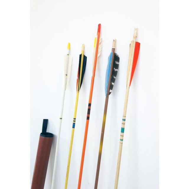 Vintage Wood Arrows & Quiver- Set of 5 - Image 4 of 5