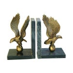 Image of Vintage Brass & Marble Eagle Bookends - A Pair