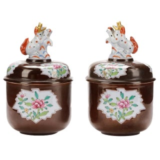 Herend Famille Rose Cafe-Au-Lait Ground Potiche Jars & Covers, Pair