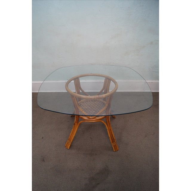 Vintage Rattan Glass Top Dining Table Chairish