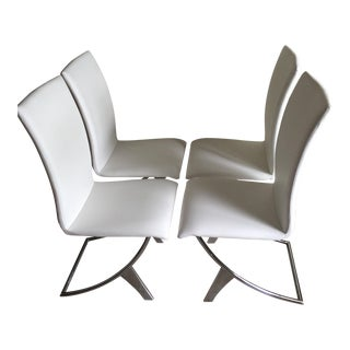 Contemporary Leather Stainless Chairs, Set of Four