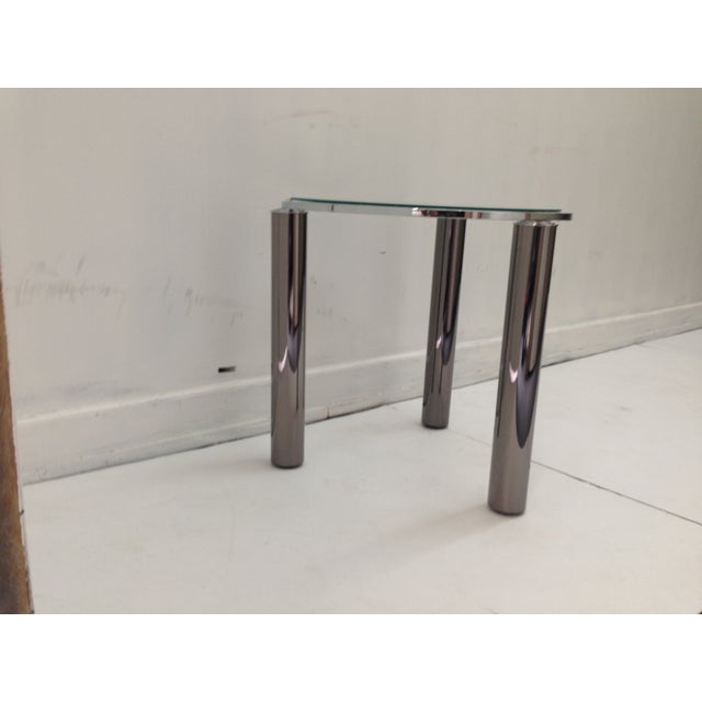 Karl Springer Style Chrome End Table - Image 3 of 6