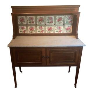 Vintage Wood, Marble & Ceramic Side Server