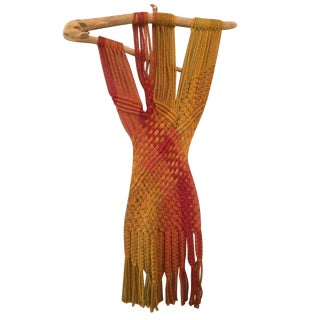 Vintage Handmade Macrame Hanging on Driftwood