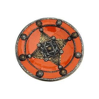 Orange Moroccan Plate With Berber Engravings