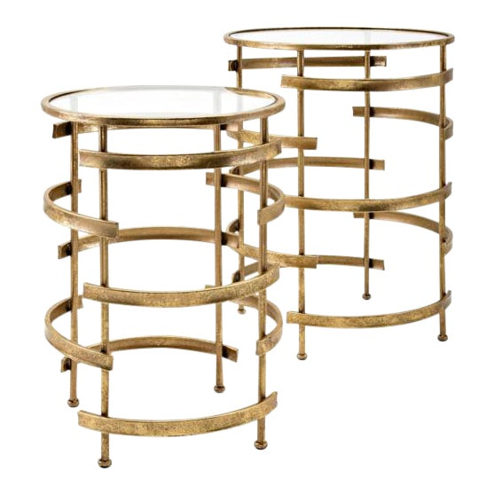 Gold Side Tables - A Pair - Image 1 of 5