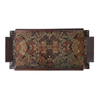 Mid Century Modern Israeli Olive Wood Mosaic Tray