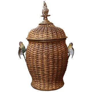 Bronze and Enameled Bronze Basket Weave Urn with Bird Motif