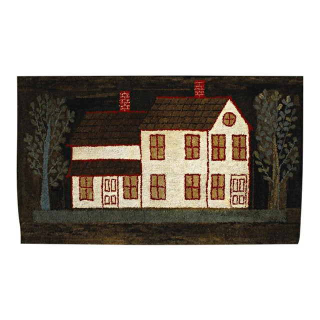 Image of Hooked Rug: White House with Red Trim