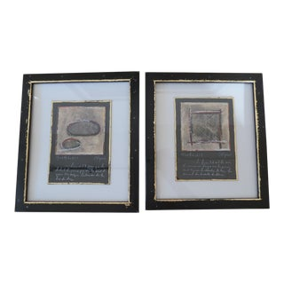 Pair of Modernist Framed Oil and Pastel Paintings With Gold Leaf Details