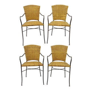 Crate & Barrel Wicker & Metal Stacking Dining Armchairs - Set of 4