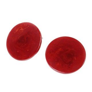 Red Bakelite Disc Earrings