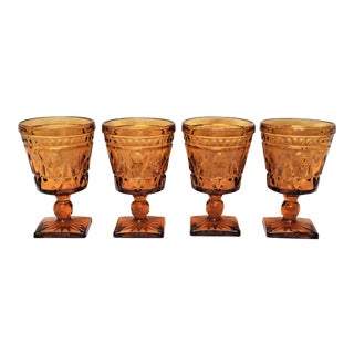 Vintage Mid-Century Amber Colored Wine Glasses - Set of 4